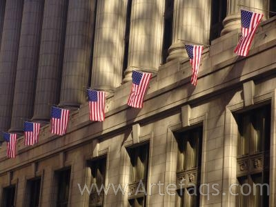 Photograph of American Flags on City Hall - Chicago, Illinois