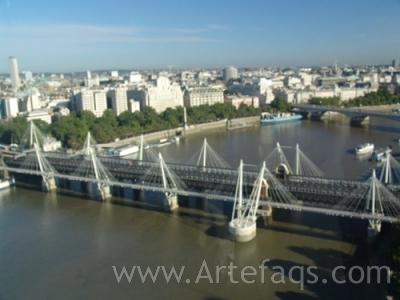 Stock photo of Hungerford Railway Bridge - London, England