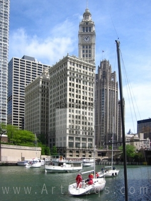 Stock photo of Sailboats on the Chicago River - Chicago, Ilinois