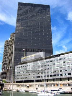Stock photo of Chicago Sun-Times Building and One IBM Plaza - Chicago, Illinois