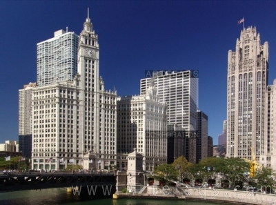 Photograph of Wrigley Building and Tribune Tower in Chicago