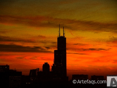 Photograph of Willis Tower at sunset - Chicago, Illinois -