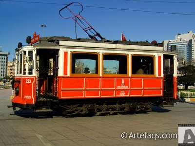 Stock photo of Historic tram (Nostaljik Tramvay) - Istanbul, Turkey