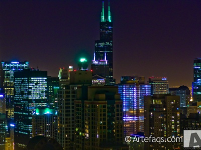 Photograph of Chicago, Illinois skyline on Saint Patrick's Day
