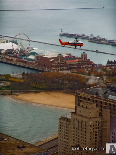 Stock photo of Helicopter crane - Chicago, Illinois -
