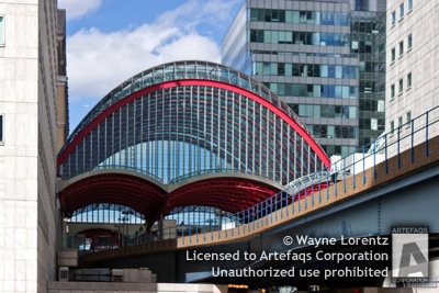 Stock photo of Docklands Light Railway Canary Wharf Station - London, England