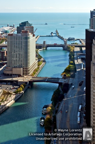 Stock photo of Chicago River, Chicago, Illinois