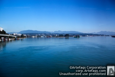 Stock photo of Fraser River, New Westminster, British Columbia